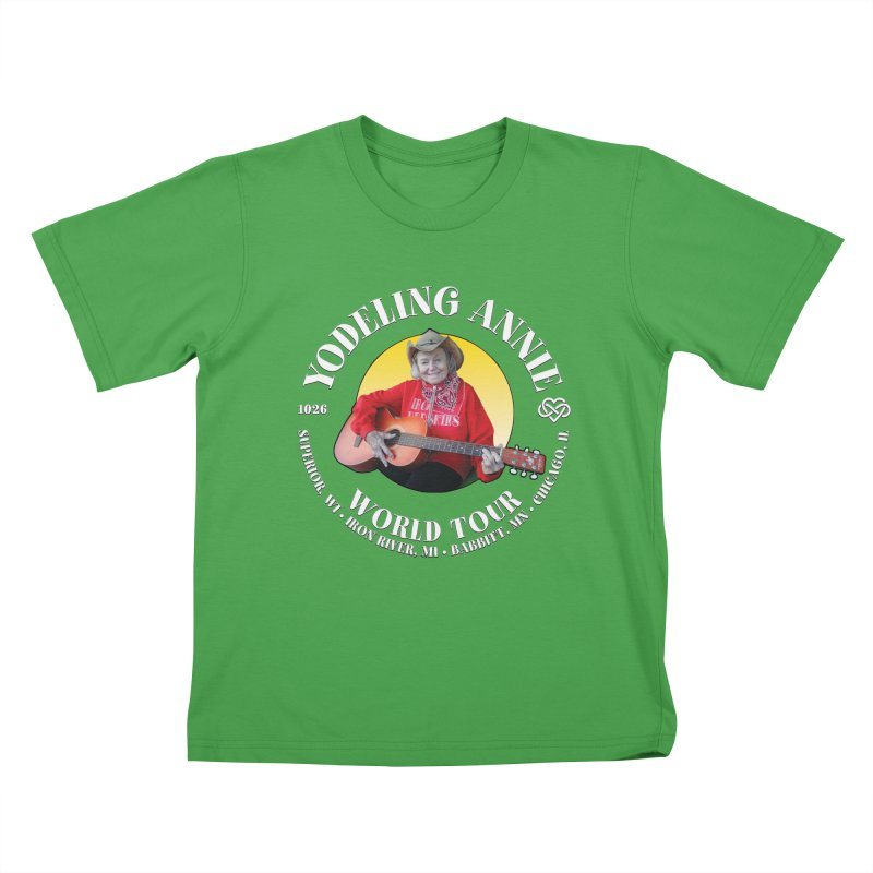 Yodeling Annie World Tour Kids T-Shirt by Brian Harms