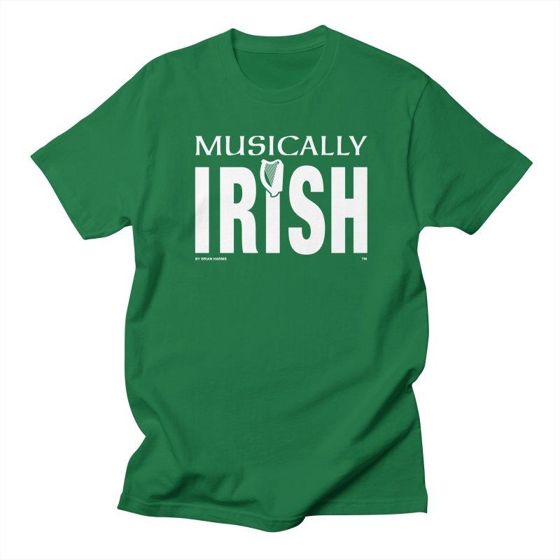 Musically Irish in Men's Regular T-Shirt Kelly Green by Brian Harms