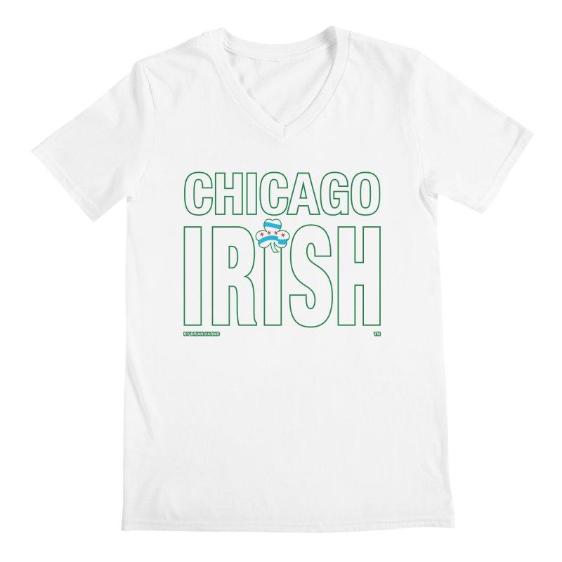 Chicago Irish with Shamrock Men's V-Neck by Brian Harms