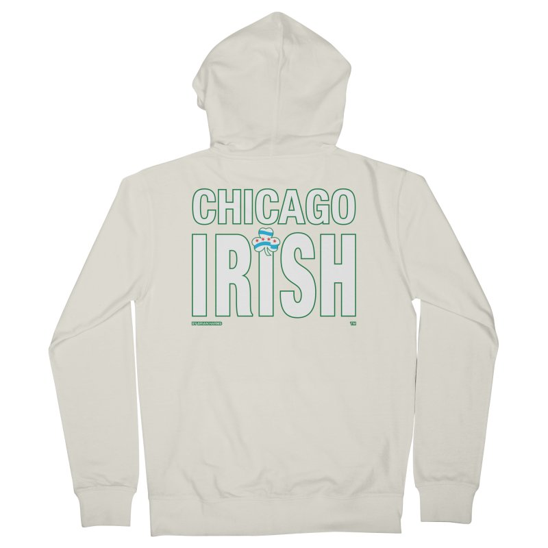 Chicago Irish with Shamrock Men's French Terry Zip-Up Hoody by Brian Harms
