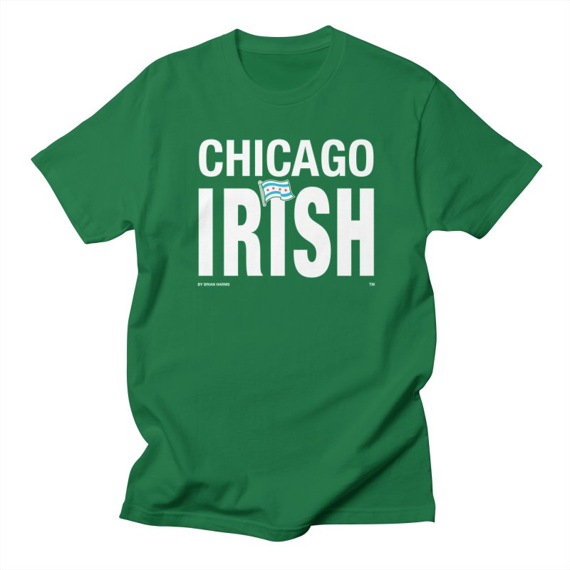 Chicago Irish with Flag in Men's Regular T-Shirt Kelly Green by Brian Harms