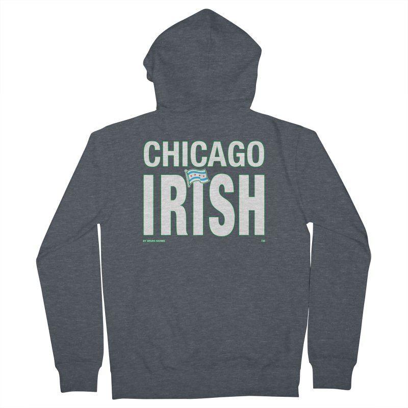 Chicago Irish with Flag Men's French Terry Zip-Up Hoody by Brian Harms