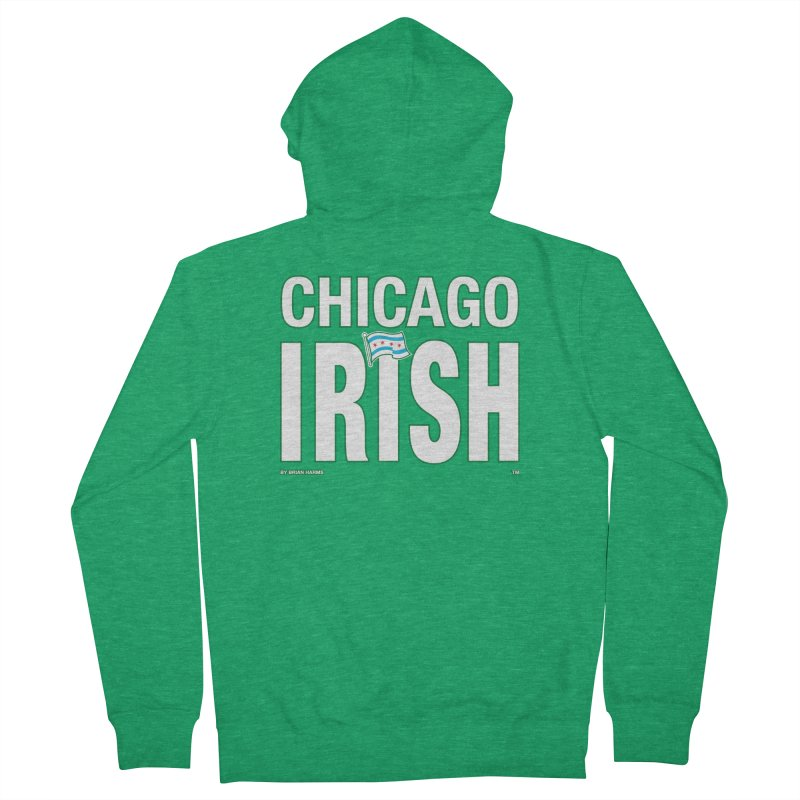 Chicago Irish with Flag Men's Zip-Up Hoody by Brian Harms