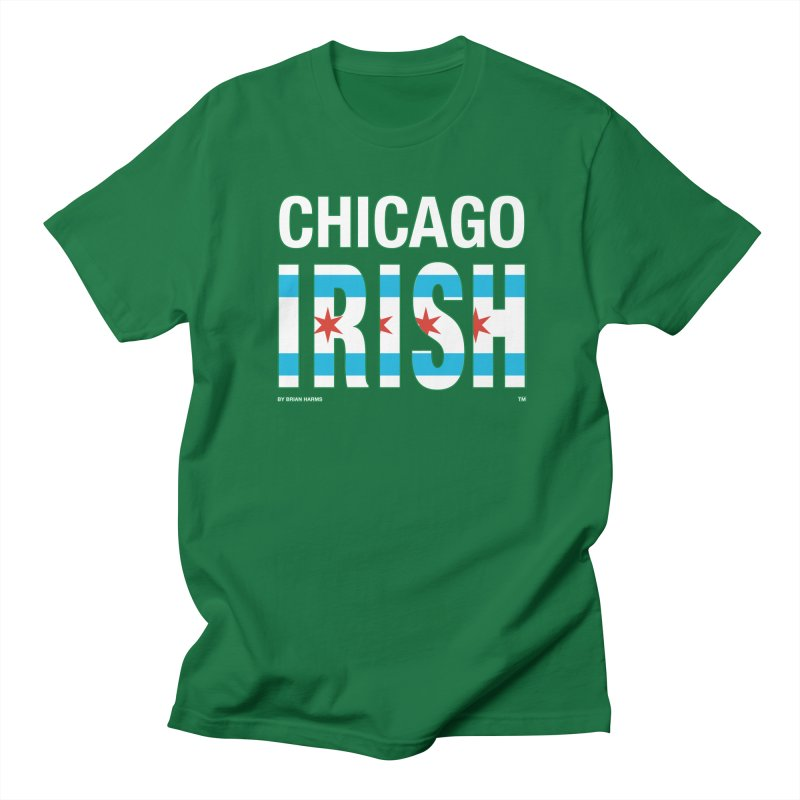Chicago Irish with flag 2 in Men's Regular T-Shirt Kelly Green by Brian Harms