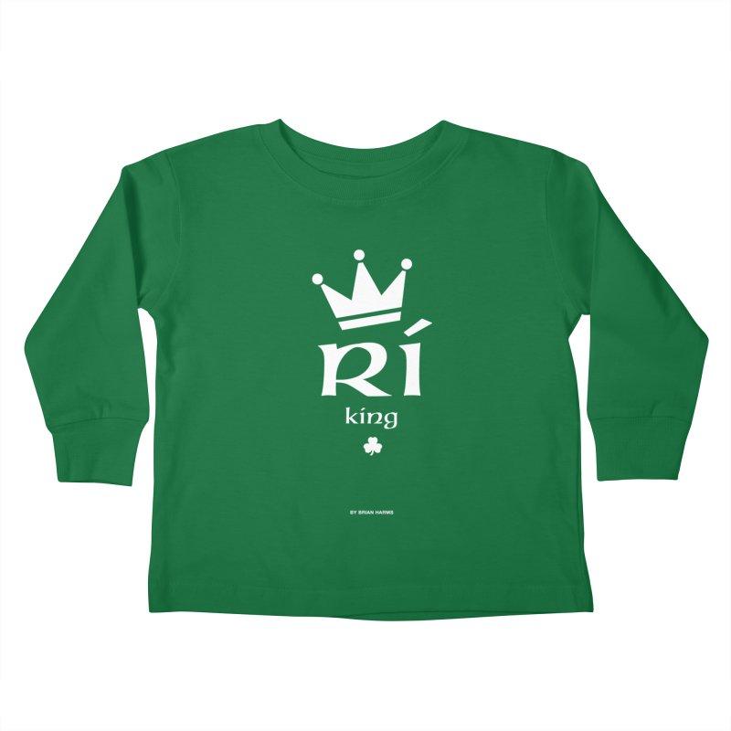 Irish Language King Kids Toddler Longsleeve T-Shirt by Brian Harms
