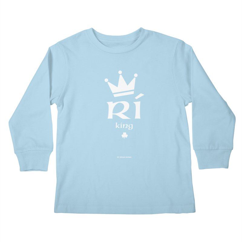 Irish Language King Kids Longsleeve T-Shirt by Brian Harms