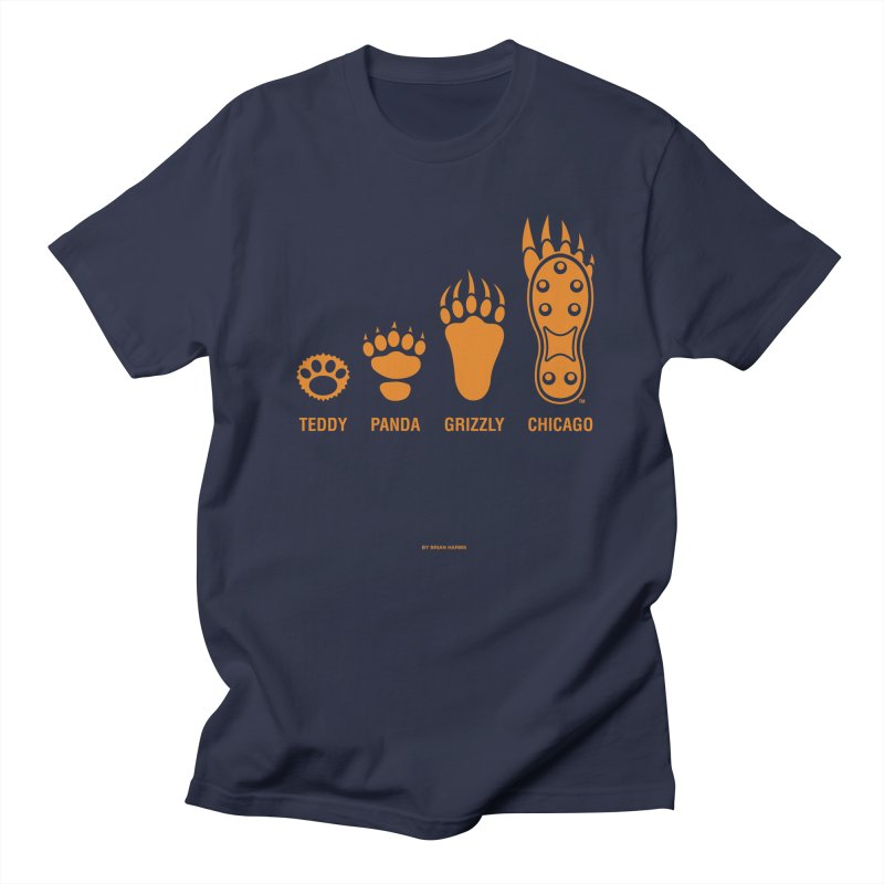 Bear Paws Orange in Men's Regular T-Shirt Navy by Brian Harms