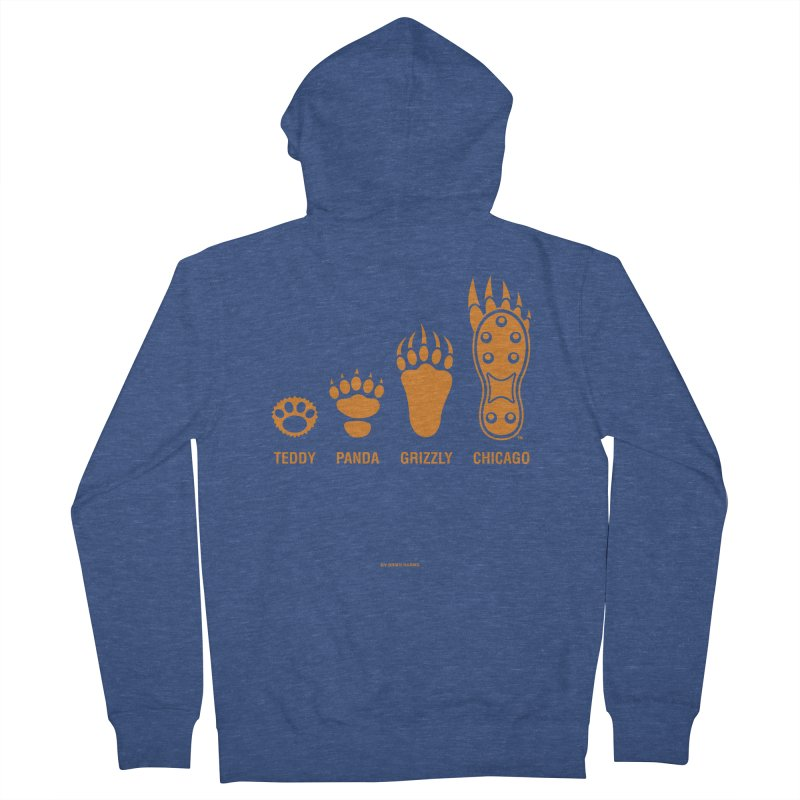 Bear Paws Orange Women's French Terry Zip-Up Hoody by Brian Harms