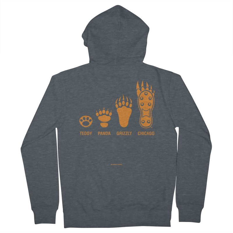 Bear Paws Orange Men's French Terry Zip-Up Hoody by Brian Harms