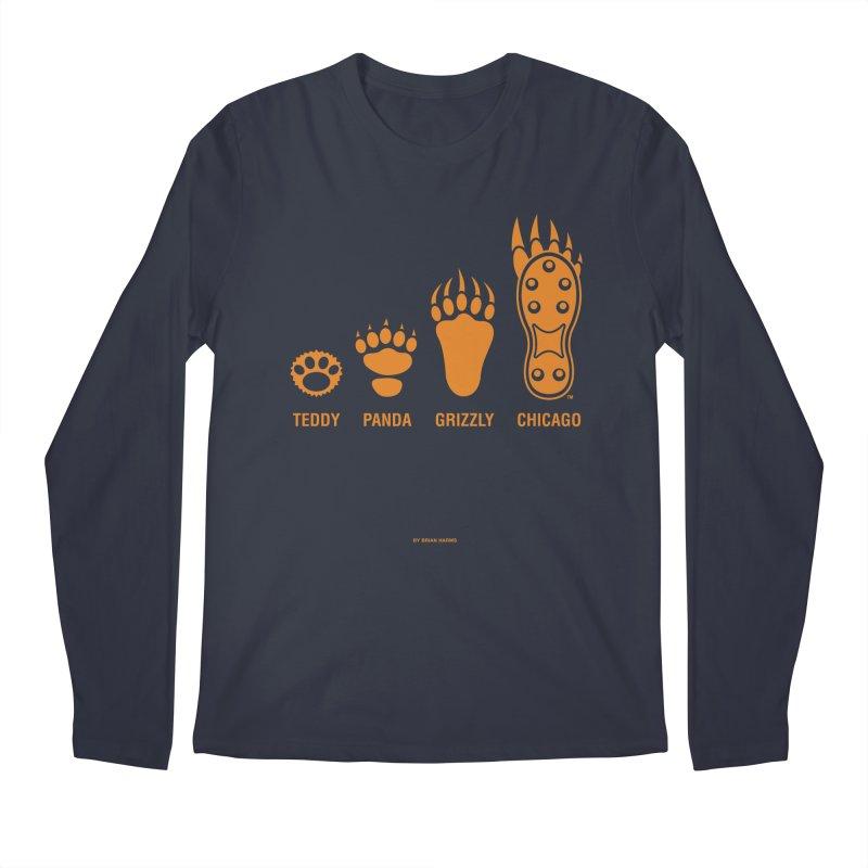 Bear Paws Orange Men's Regular Longsleeve T-Shirt by Brian Harms