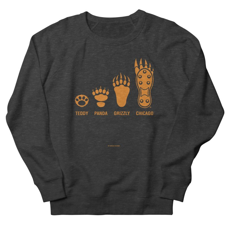 Bear Paws Orange Women's French Terry Sweatshirt by Brian Harms