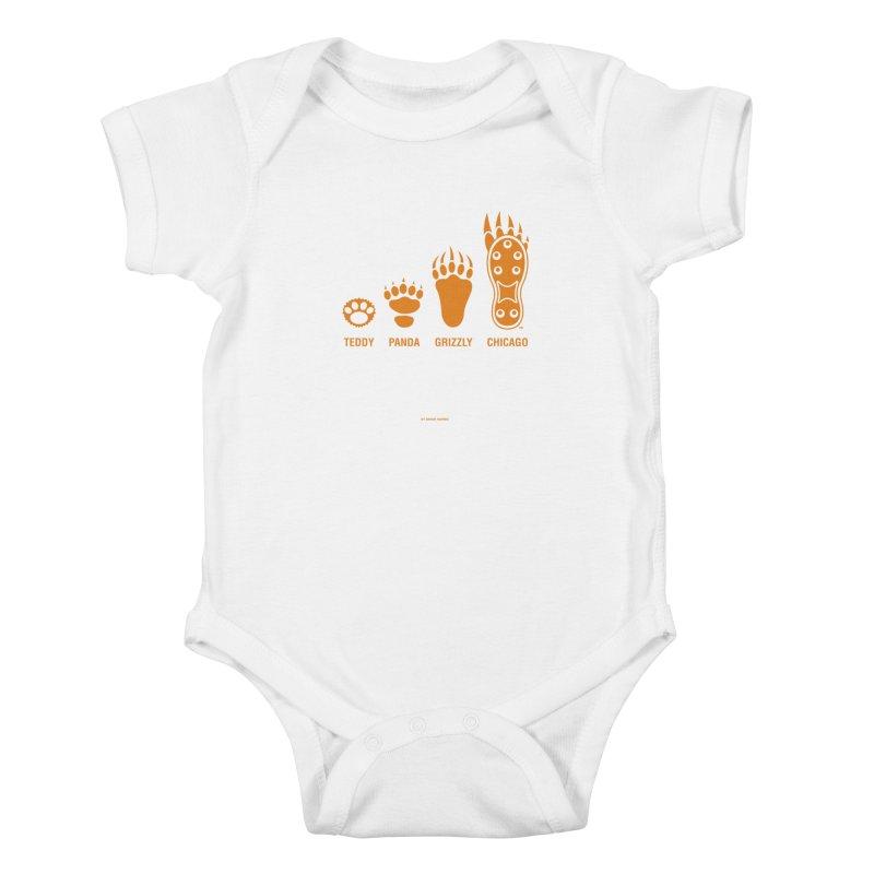 Bear Paws Orange Kids Baby Bodysuit by Brian Harms
