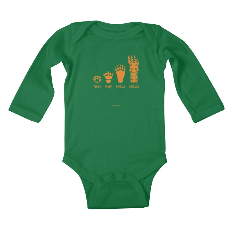 Bear Paws Orange Kids Baby Longsleeve Bodysuit by Brian Harms