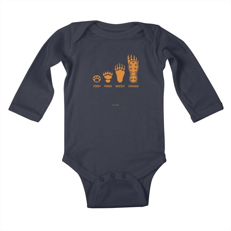 Bear Paws Orange Kids Baby Longsleeve Bodysuit by Brian Harms