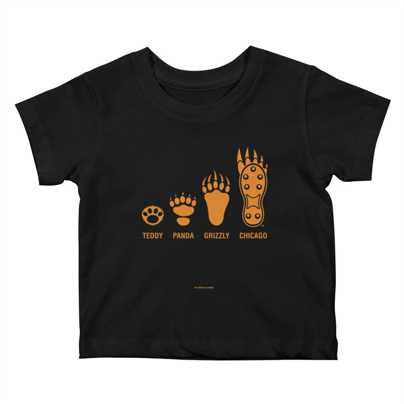 Bear Paws Orange Kids Baby T-Shirt by Brian Harms