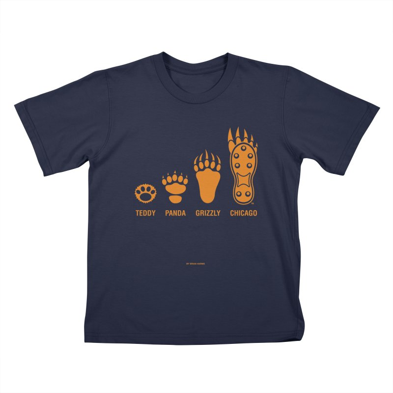 Bear Paws Orange Kids T-Shirt by Brian Harms