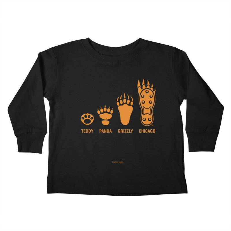 Bear Paws Orange Kids Toddler Longsleeve T-Shirt by Brian Harms