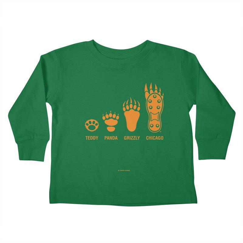 Bear Paws Orange Kids Toddler Longsleeve T-Shirt by Brian Harms