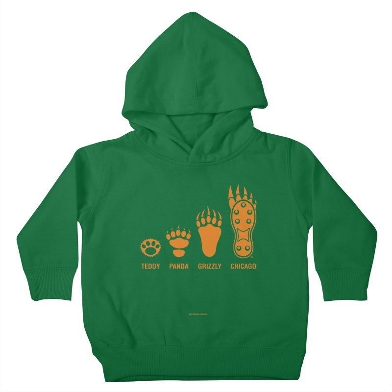Bear Paws Orange Kids Toddler Pullover Hoody by Brian Harms
