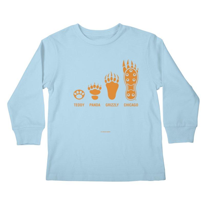 Bear Paws Orange Kids Longsleeve T-Shirt by Brian Harms