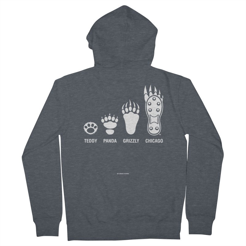 Bear Paws White Women's French Terry Zip-Up Hoody by Brian Harms