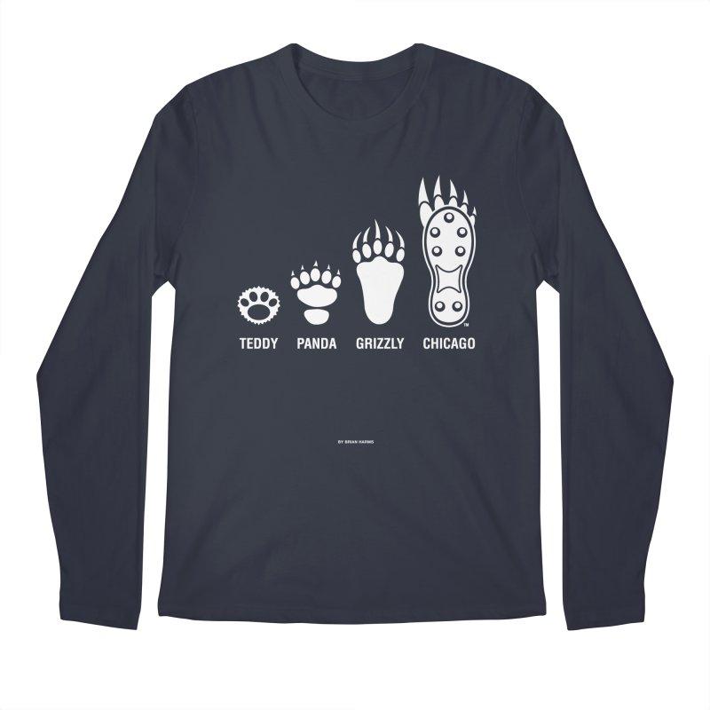 Bear Paws White Men's Regular Longsleeve T-Shirt by Brian Harms