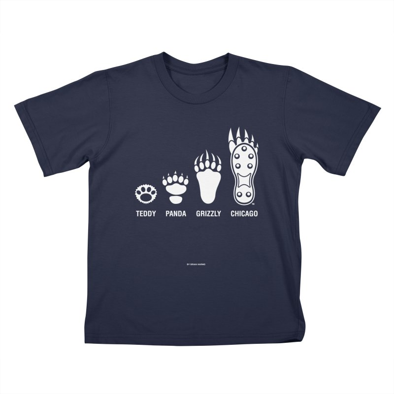 Bear Paws White Kids T-Shirt by Brian Harms
