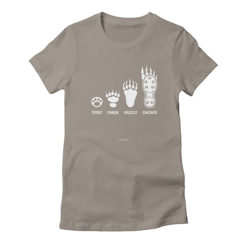 Bear Paws White in Women's Fitted T-Shirt Warm Grey by Brian Harms