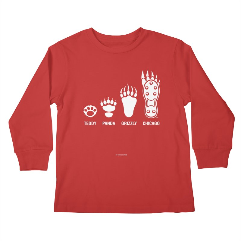Bear Paws White Kids Longsleeve T-Shirt by Brian Harms