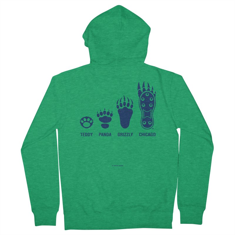 Bear Paws Blue Women's French Terry Zip-Up Hoody by Brian Harms