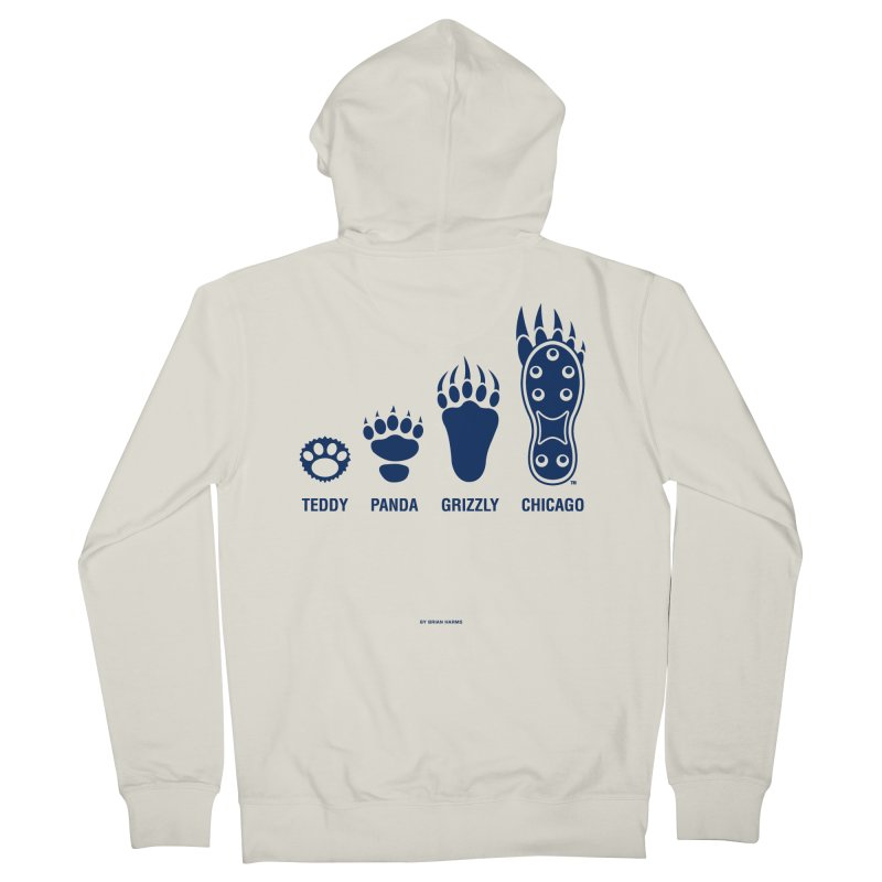 Bear Paws Blue Men's French Terry Zip-Up Hoody by Brian Harms