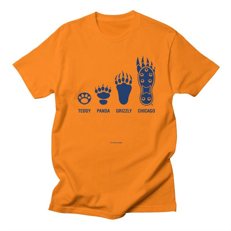 Bear Paws Blue in Men's Regular T-Shirt Orange by Brian Harms