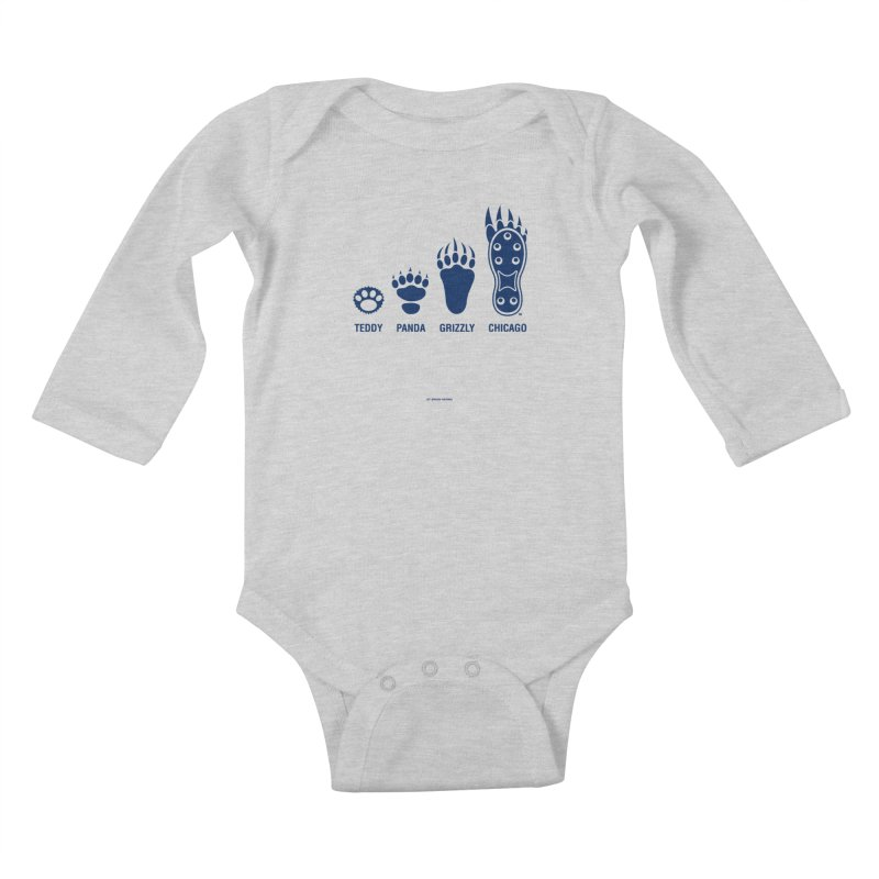 Bear Paws Blue Kids Baby Longsleeve Bodysuit by Brian Harms