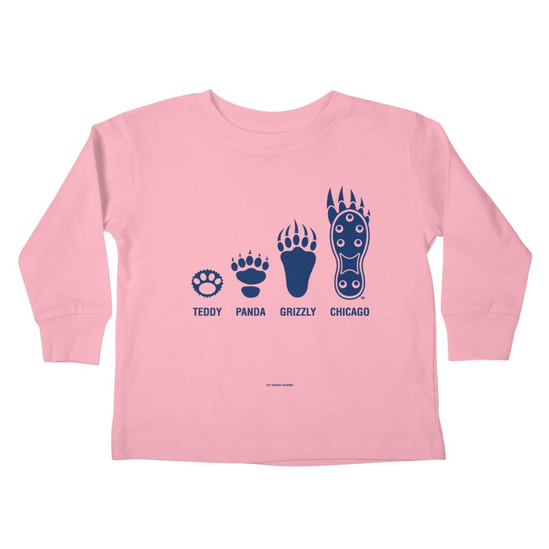Bear Paws Blue Kids Toddler Longsleeve T-Shirt by Brian Harms