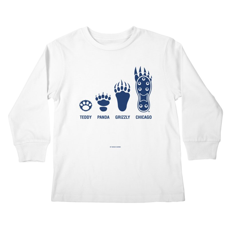Bear Paws Blue Kids Longsleeve T-Shirt by Brian Harms