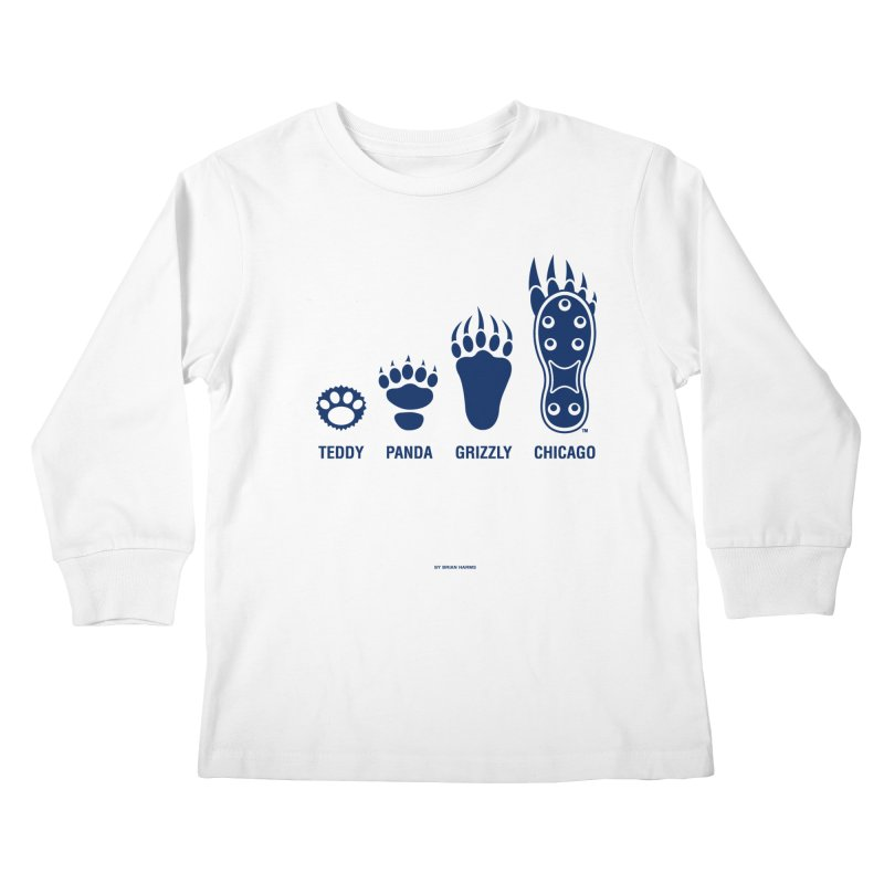 Bear Paws Blue Kids Longsleeve T-Shirt by Brian Harms