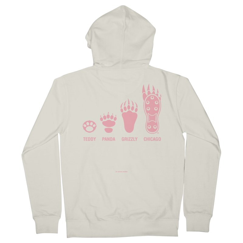 Bear Paws Pink Men's French Terry Zip-Up Hoody by Brian Harms