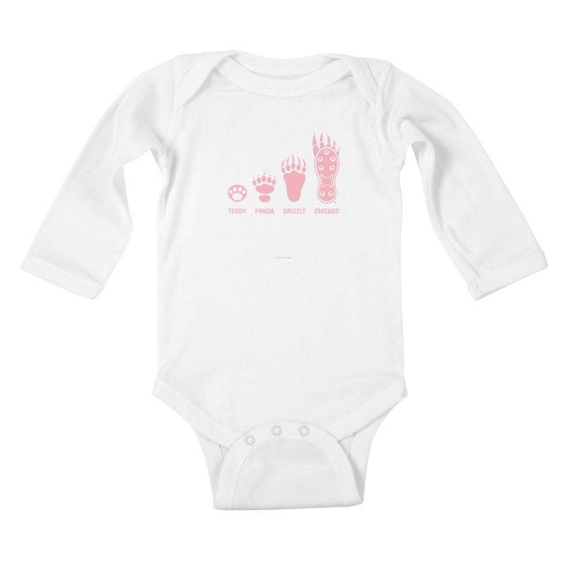 Bear Paws Pink Kids Baby Longsleeve Bodysuit by Brian Harms