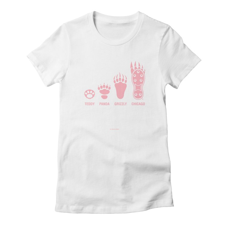 Bear Paws Pink in Women's Fitted T-Shirt White by Brian Harms