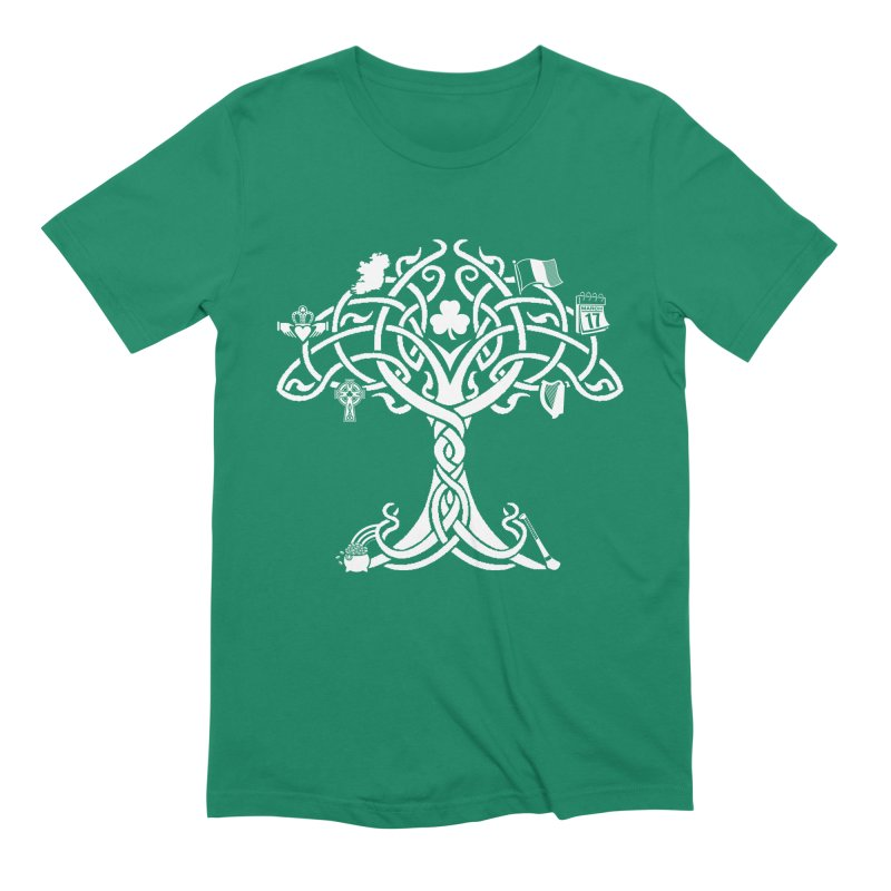Irish Tree of Life in Men's Extra Soft T-Shirt Evergreen by Brian Harms