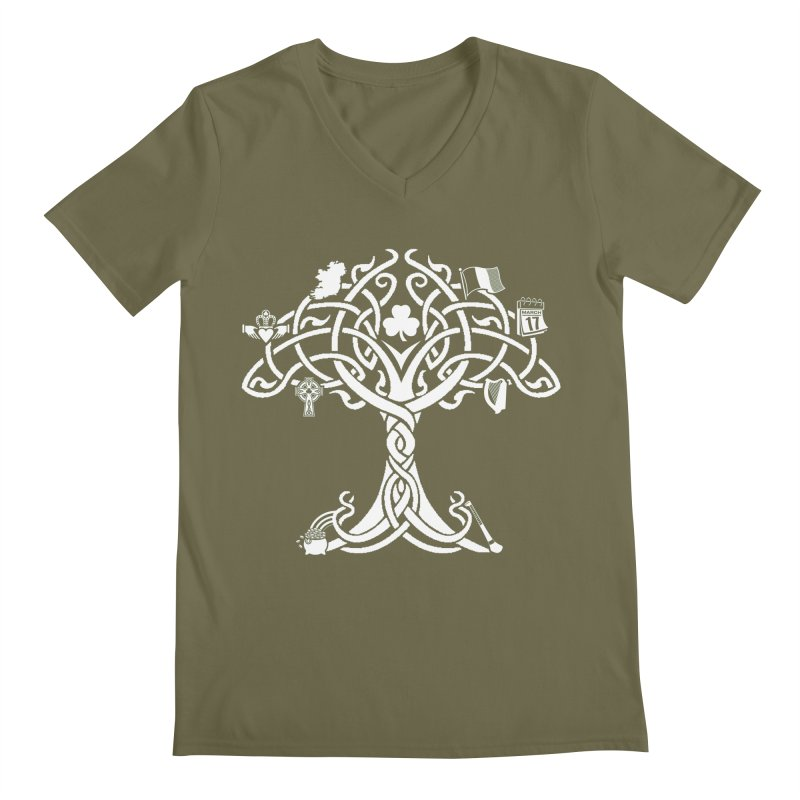 Irish Tree of Life Men's Regular V-Neck by Brian Harms