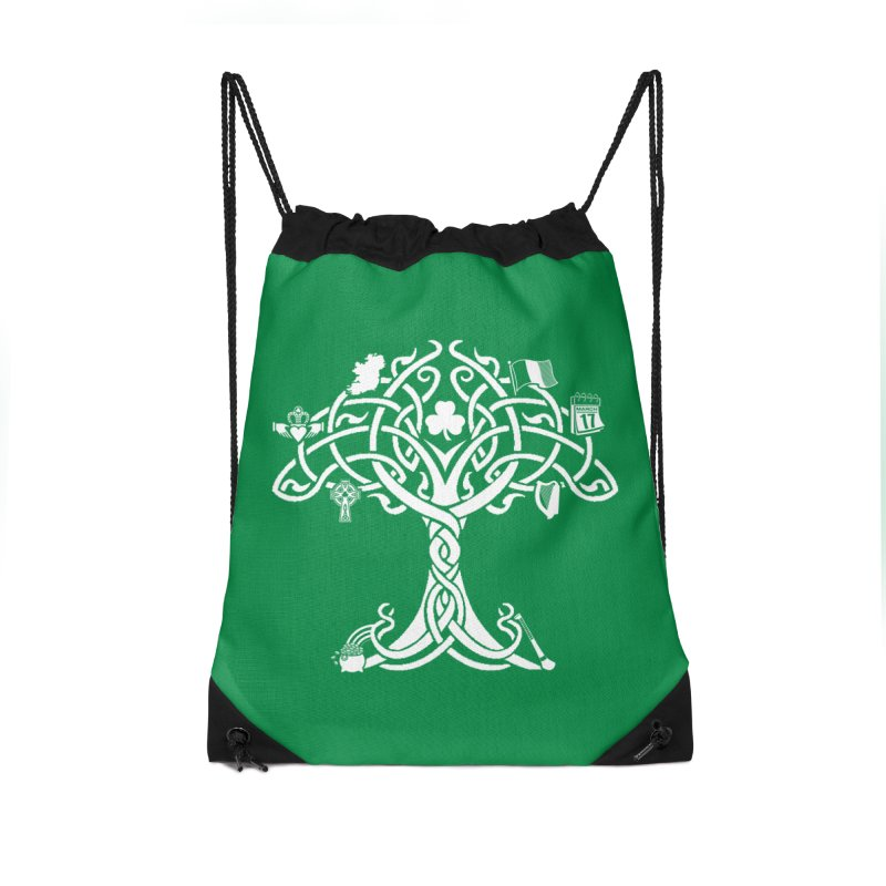 Irish Tree of Life Accessories Drawstring Bag Bag by Brian Harms