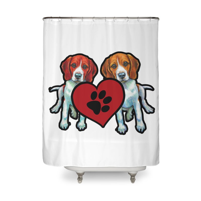 Beagle Heart Shirt Home Shower Curtain By Brianleonshops Artist Shop