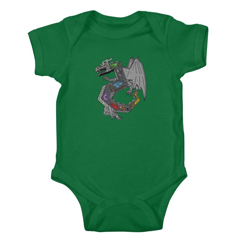 Dungeon Dragon Kids Baby Bodysuit by brianmcl's Artist Shop