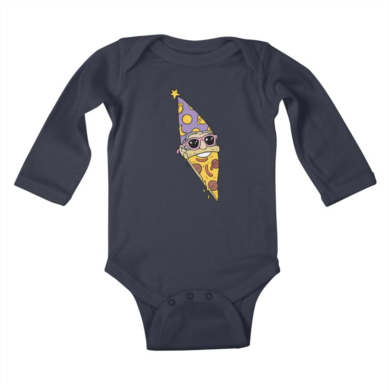 Pizza Wizard Kids Baby Longsleeve Bodysuit by brianmcl's Artist Shop