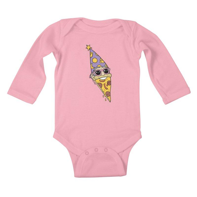 Pizza Wizard Kids Baby Longsleeve Bodysuit by brianmcl's Artist Shop