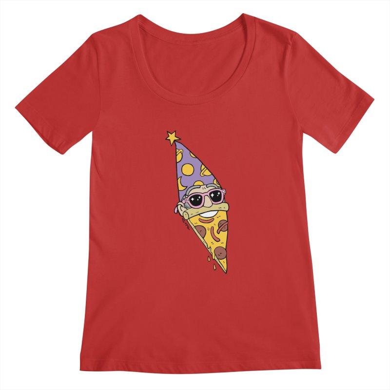 Pizza Wizard Women's Regular Scoop Neck by brianmcl's Artist Shop
