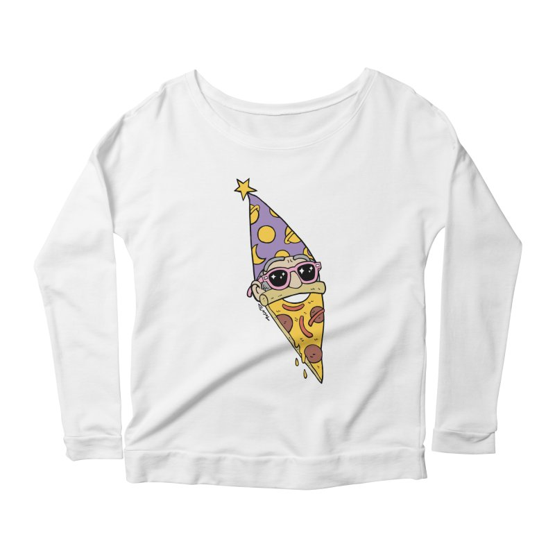 Pizza Wizard Women's Scoop Neck Longsleeve T-Shirt by brianmcl's Artist Shop