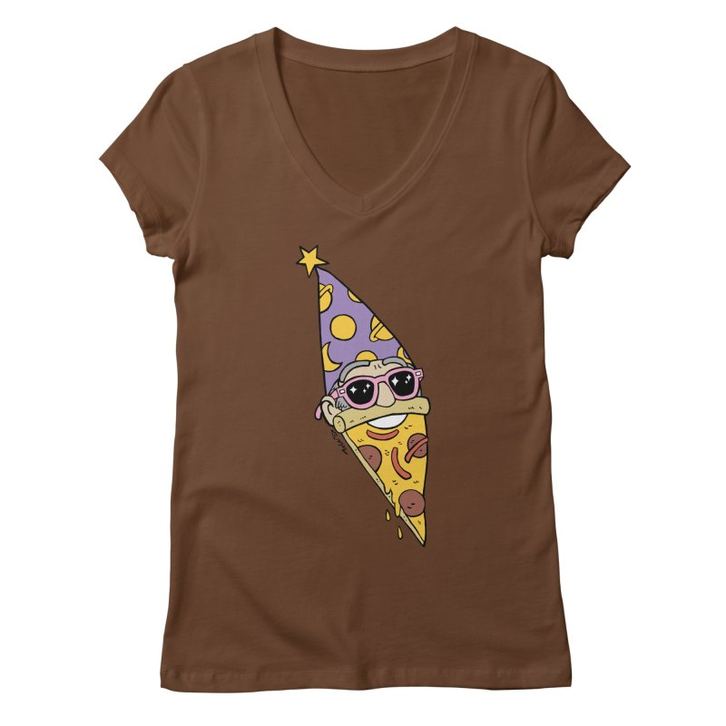 Pizza Wizard Women's Regular V-Neck by brianmcl's Artist Shop