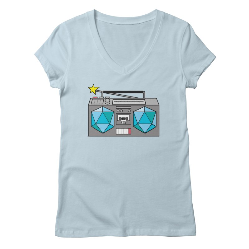 2d20 BoomBox Women's V-Neck by brianmcl's Artist Shop